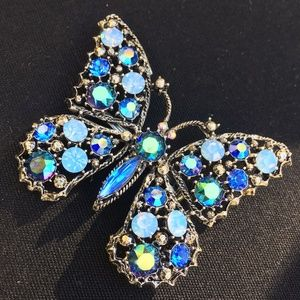 Vintage Signed Weiss Blue Rhinestone Butterfly Pin